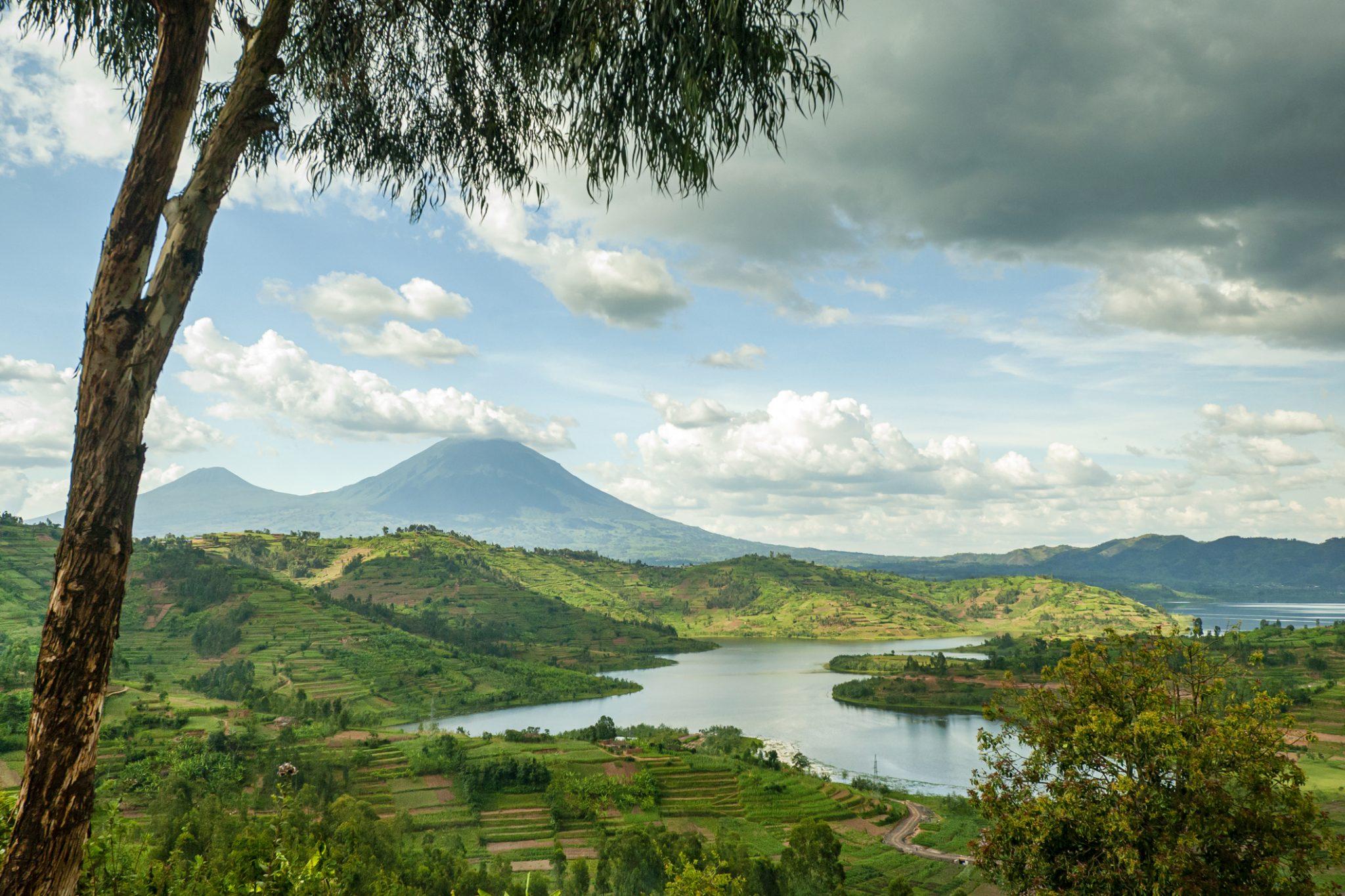 Landscape of the Virunga Mountains in Rwanda