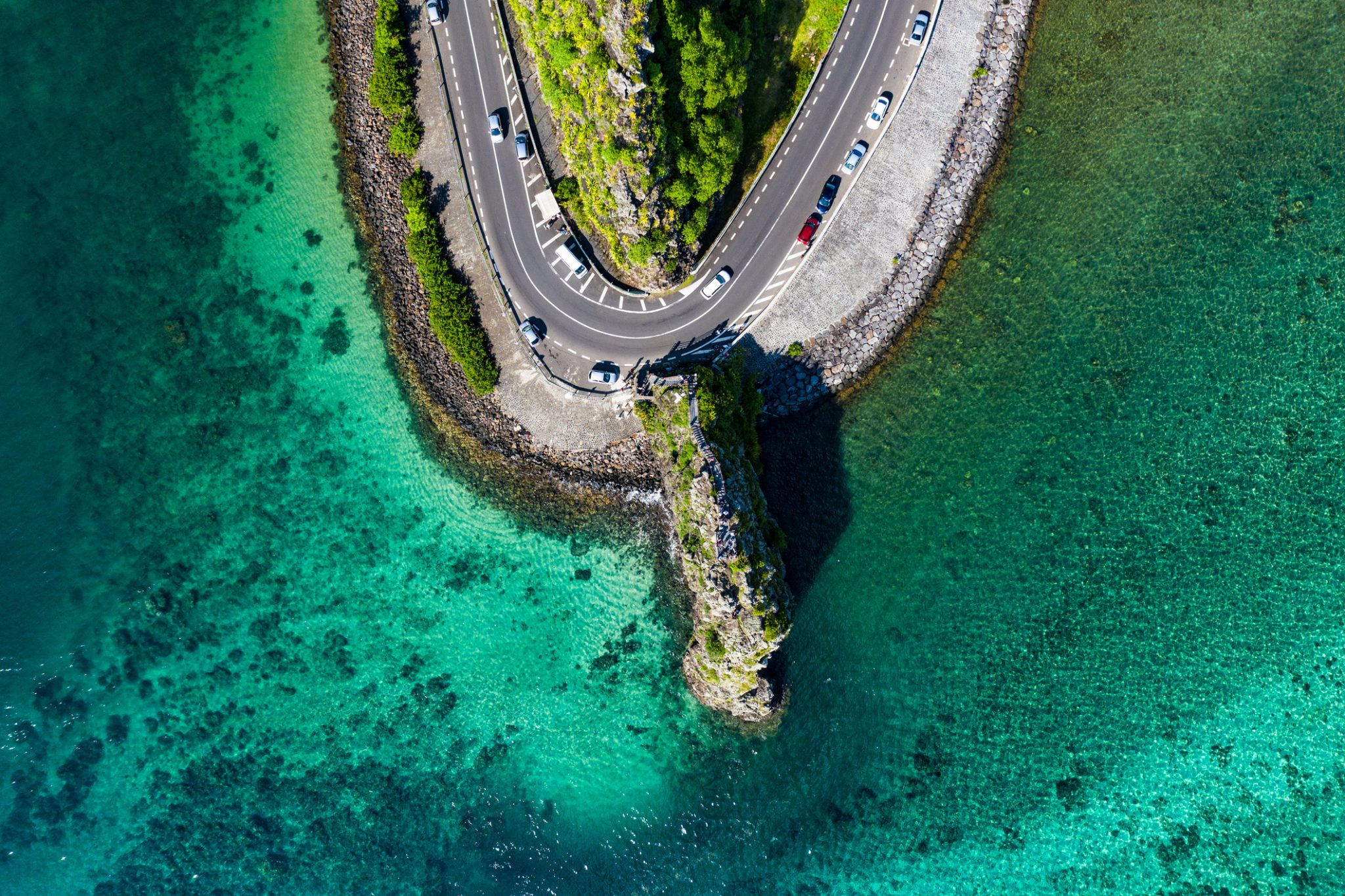 Road passing through a rock in Mauritius island
